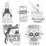 Vektoruppsättning av tequilaetiketter i tappningstil Mexicansk alkoholdrink, berida Hand drog menydesignbeståndsdelar, symboler Fotografering för Bildbyråer