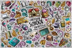 Vektoruppsättning av tillbaka till skolaobjekt, objekt och symboler royaltyfri illustrationer