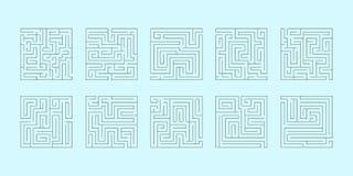 Vektoruppsättning av tio fyrkantiga labyrinter Arkivfoto