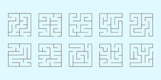 Vektoruppsättning av tio fyrkantiga labyrinter Royaltyfri Fotografi