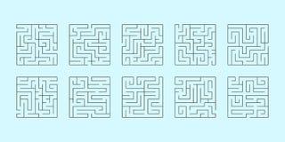 Vektoruppsättning av tio fyrkantiga labyrinter Arkivbild