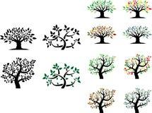 Vektoruppsättning av träd med säsonger Arkivbild