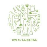 Vektoruppsättning av trädgårds- hjälpmedel Fotografering för Bildbyråer