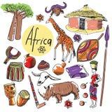 Vektoruppsättning av turist- dragningar Afrika Royaltyfria Bilder
