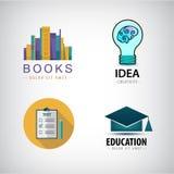 Vektoruppsättning av utbildningslogoböcker royaltyfri illustrationer