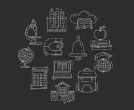Vektoruppsättning av utbildningssymboler Royaltyfri Bild