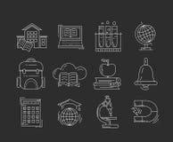 Vektoruppsättning av utbildningssymboler Royaltyfri Fotografi