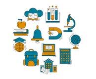 Vektoruppsättning av utbildningssymboler Arkivbild