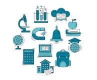 Vektoruppsättning av utbildningssymboler Arkivbilder