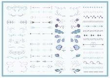 Vektoruppsättning av utsmyckade ramar och snirkelbeståndsdelar stock illustrationer