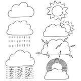 Vektoruppsättning av väder royaltyfri illustrationer
