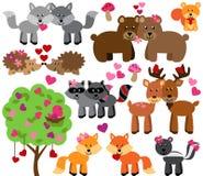 Vektoruppsättning av valentin dag Forest Animals Arkivbilder