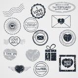 Vektoruppsättning av Valentine Day stämplar stock illustrationer