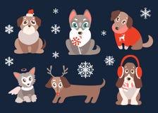 Vektoruppsättning av valpar med julsymboler Gullig hundkapplöpning, bästa fr Fotografering för Bildbyråer