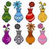 Vektoruppsättning av vaser, studie av färger för barn Royaltyfria Foton
