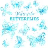 Vektoruppsättning av vattenfärgfjärilar Royaltyfria Bilder