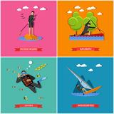 Vektoruppsättning av vattensportar royaltyfri illustrationer