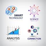 Vektoruppsättning av vetenskap, analys, kemi, atomanslutning, teknologilogo stock illustrationer