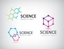 Vektoruppsättning av vetenskapslogoer, biologi, fysik, kemilogo royaltyfri illustrationer