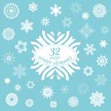 Vektoruppsättning av 32 vinterbeståndsdelar för din design Royaltyfria Foton