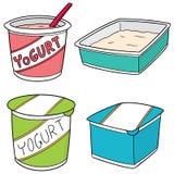 Vektoruppsättning av yoghurt Arkivfoton