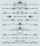 Vektoruppsättning. Calligraphic designbeståndsdelar för din design. royaltyfri illustrationer