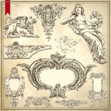 Vektoruppsättning: Calligraphic designbeståndsdelar och sida Royaltyfria Bilder