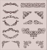 Vektoruppsättning: Calligraphic designbeståndsdelar och sida Royaltyfri Bild
