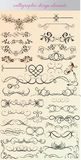 Vektoruppsättning: calligraphic designbeståndsdelar och sidagarnering - l Royaltyfri Fotografi