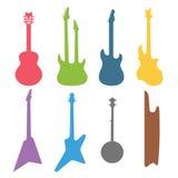 Vektoruppsättning för akustiska och elektriska gitarrer Fotografering för Bildbyråer