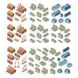 vektoruppsättning för byggnader 3d Arkivbild