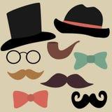 Vektoruppsättning för Gentelmens parti: Exponeringsglas hattar, flugor, Tobac vektor illustrationer
