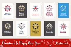 Vektoruppsättning för jul och för lyckligt nytt år stock illustrationer