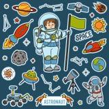 Vektoruppsättning med astronaut- och utrymmeobjekt Tecknad filmobjekt stock illustrationer