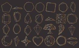 Vektoruppsättning med den geometriska polyhedronen, art décostil för att gifta sig inbjudan, lyxiga mallar, dekorativa modeller vektor illustrationer
