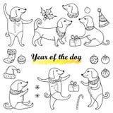Vektoruppsättning med den lyckliga hunden för översikt i svart som isoleras på vit bakgrund Symbol av det kinesiska nya året 2018 Fotografering för Bildbyråer