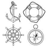 Vektoruppsättning med det isolerade ankaret, livboj, skepps hjul, kompass stock illustrationer