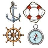 Vektoruppsättning med det isolerade ankaret, livboj, skepps hjul, kompass Royaltyfria Foton
