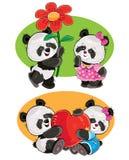 Vektoruppsättning med ett par av förälskade pandabjörnar stock illustrationer
