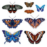 vektoruppsättning med fjärilar Arkivbilder