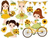 Vektoruppsättning med gulliga små flickor, cykel med solrosor vektor illustrationer