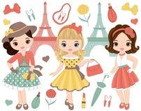 Vektoruppsättning med gulliga små flickor i Retro stil och mode Royaltyfria Bilder