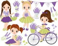 Vektoruppsättning med gulliga små flickor, lavendel, cykeln och Bunting vektor illustrationer