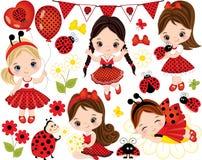 Vektoruppsättning med gulliga små flickor, nyckelpigor och blommor Royaltyfri Fotografi