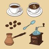 Vektoruppsättning med koppar kaffe, kaffebönor, kaffebryggare, kaffekvarn, sked royaltyfri illustrationer