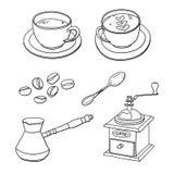 Vektoruppsättning med koppar kaffe, kaffebönor, kaffebryggare, kaffekvarn, sked Fotografering för Bildbyråer