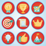 Vektoruppsättning med prestation- och utmärkelseemblem stock illustrationer