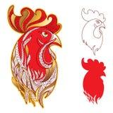 Vektoruppsättning med tupp- eller hanehuvudprofil i guld- och rött på vit Symbol av det nya året 2017 i kinesisk kalender vektor illustrationer