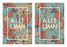 Vektoruppsättning med två höstkort med hand drog trädsidor malldesign för kort, räkningar som förpackar stock illustrationer