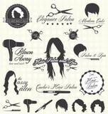 Vektoruppsättning: Retro etiketter och symboler för hårsalong vektor illustrationer